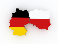 Map of Germany and Poland. 3d